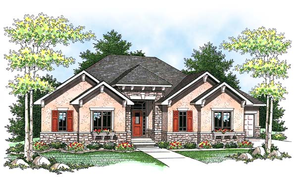 Craftsman, Traditional House Plan 73434 with 2 Beds, 3 Baths, 3 Car Garage Elevation