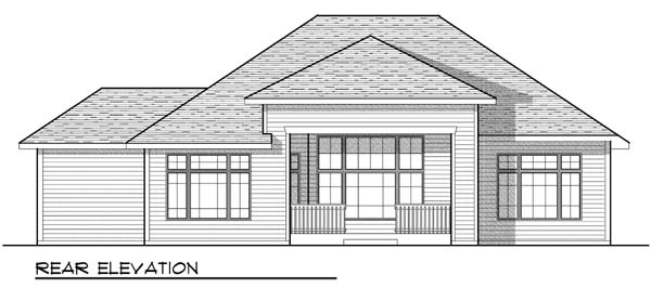 Craftsman, Traditional House Plan 73434 with 2 Beds, 3 Baths, 3 Car Garage Rear Elevation