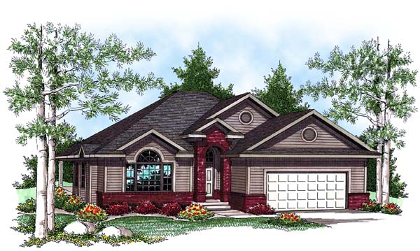 House Plan 73437 | Traditional Style Plan with 1409 Sq Ft, 2 Bedrooms, 2 Bathrooms, 3 Car Garage Elevation