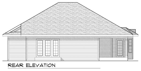 House Plan 73437 | Traditional Style Plan with 1409 Sq Ft, 2 Bedrooms, 2 Bathrooms, 3 Car Garage Rear Elevation
