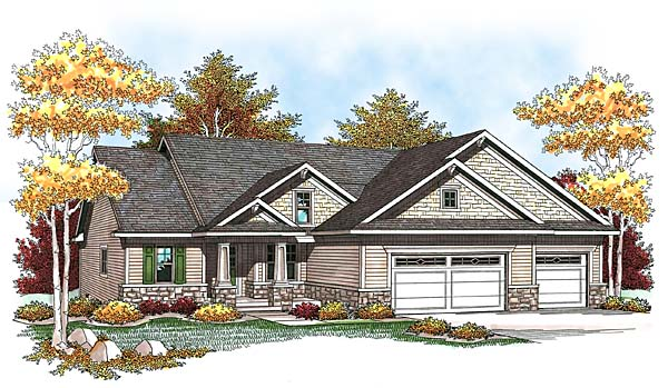 One-Story, Traditional House Plan 73438 with 2 Beds, 2 Baths, 3 Car Garage Front Elevation