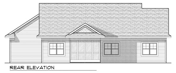 One-Story, Traditional House Plan 73438 with 2 Beds, 2 Baths, 3 Car Garage Rear Elevation