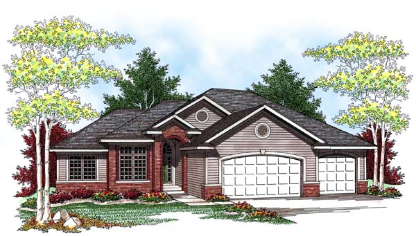 One-Story, Traditional House Plan 73440 with 3 Beds, 3 Baths, 3 Car Garage Front Elevation