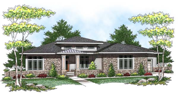 Prairie Style Southwest Elevation of Plan 73443