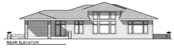 Prairie Style Southwest Rear Elevation of Plan 73443