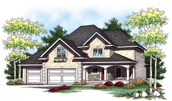 European House Plan 73446 with 4 Beds, 3 Baths, 3 Car Garage Elevation