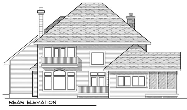 European Traditional House Plan 73449 Rear Elevation