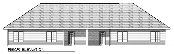 Ranch Multi-Family Plan 73450 Rear Elevation