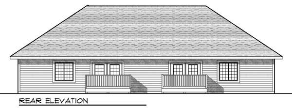 Traditional Rear Elevation of Plan 73451
