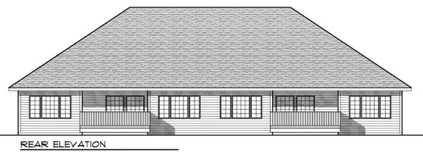 Multi-Family Plan 73452 | European Style Multi-Family Plan with 2778 Sq Ft, 4 Bed, 4 Bath, 4 Car Garage Rear Elevation