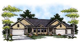 Traditional Multi-Family Plan 73453 with 4 Beds, 4 Baths, 5 Car Garage Elevation