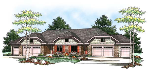 Traditional Multi-Family Plan 73455 Elevation