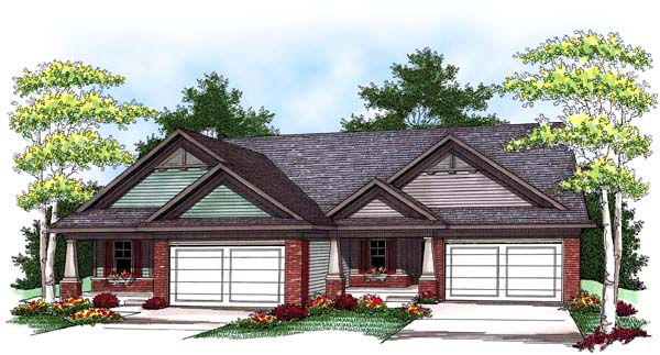 Traditional Multi-Family Plan 73456 Elevation