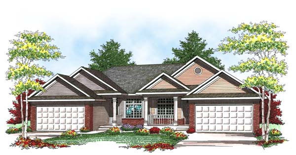 Ranch , Traditional Multi-Family Plan 73457 with 4 Beds, 4 Baths, 4 Car Garage Elevation