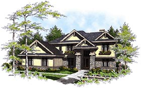 Craftsman , Traditional House Plan 73463 with 4 Beds, 4 Baths, 3 Car Garage Elevation