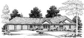 House Plan 73464   Colonial Style Plan with 4464 Sq Ft, 3 Bedrooms, 3 Bathrooms, 2 Car Garage Elevation