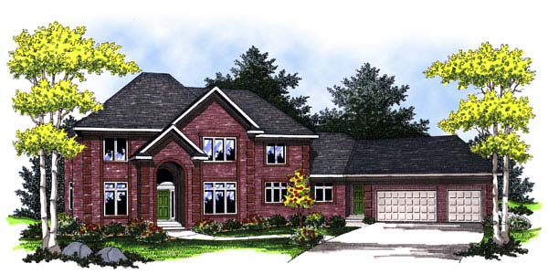 European House Plan 73465 with 5 Beds, 4 Baths, 3 Car Garage Elevation
