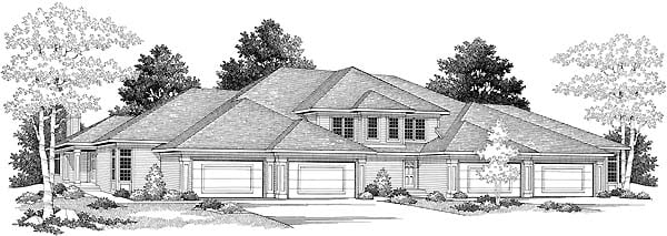 Traditional Multi-Family Plan 73467 Elevation