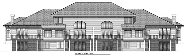 Traditional Multi-Family Plan 73467 with 10 Beds , 10 Baths , 8 Car Garage Rear Elevation