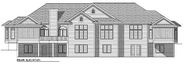 Traditional , Rear Elevation of Plan 73469