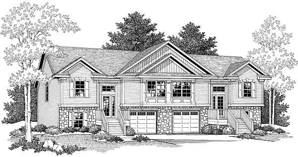 Traditional Multi-Family Plan 73471 with 6 Beds, 4 Baths, 2 Car Garage Elevation