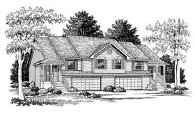 Traditional Multi-Family Plan 73472 with 6 Beds, 4 Baths, 4 Car Garage Elevation