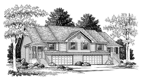 Traditional Multi-Family Plan 73472 Elevation