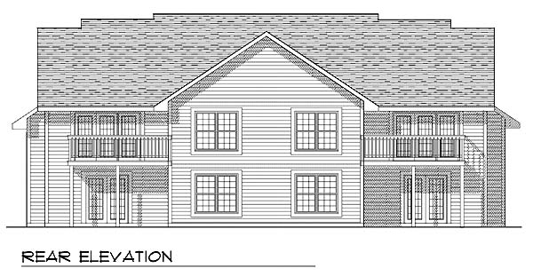 Traditional Multi-Family Plan 73472 Rear Elevation