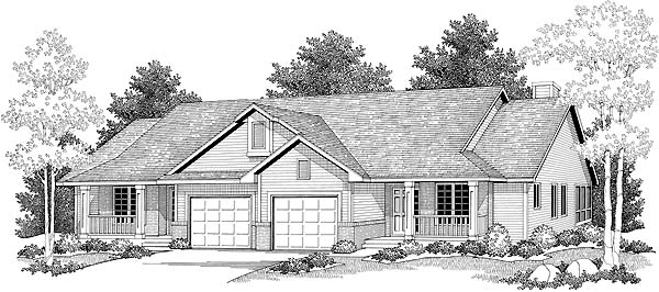 Ranch Multi-Family Plan 73473 with 4 Beds, 2 Baths, 2 Car Garage Elevation