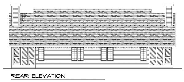 Ranch Multi-Family Plan 73473 with 4 Beds, 2 Baths, 2 Car Garage Rear Elevation