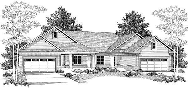 Traditional Multi-Family Plan 73476 Elevation