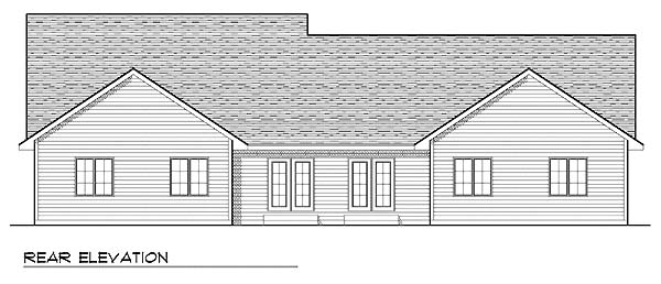 Traditional Rear Elevation of Plan 73478
