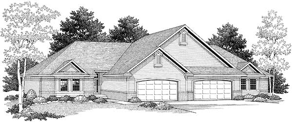Traditional Multi-Family Plan 73480 Elevation
