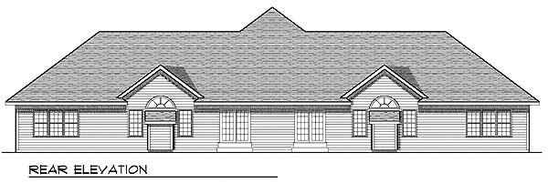 Traditional Multi-Family Plan 73480 Rear Elevation