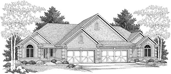 Traditional Multi-Family Plan 73481 Elevation