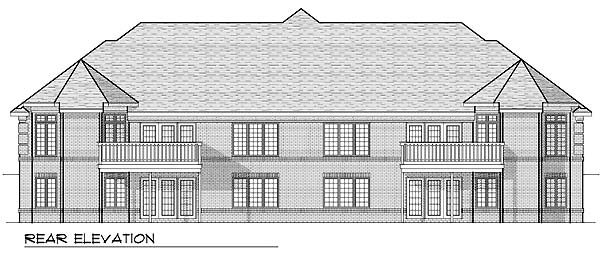 Traditional Multi-Family Plan 73481 Rear Elevation