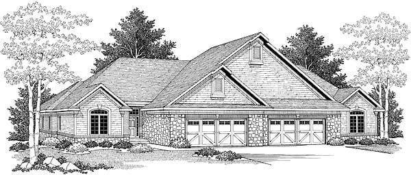 Traditional Multi-Family Plan 73482 Elevation