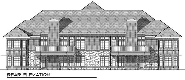 Traditional Rear Elevation of Plan 73482