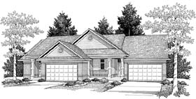 Ranch Multi-Family Plan 73484 with 3 Beds, 2 Baths, 4 Car Garage Elevation