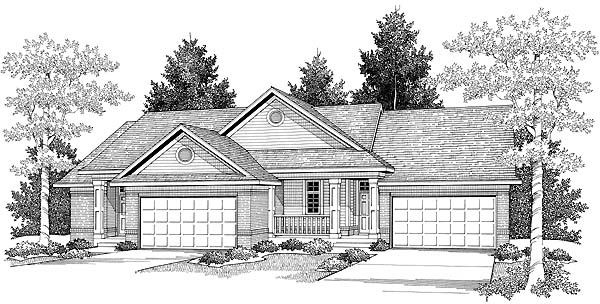 Ranch Elevation of Plan 73484
