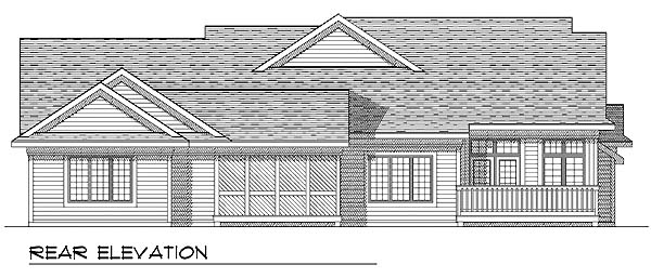 Ranch Multi-Family Plan 73484 with 3 Beds, 2 Baths, 4 Car Garage Rear Elevation