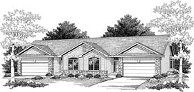 Multi-Family Plan 73485 | Ranch Style Multi-Family Plan with 2250 Sq Ft, 4 Bed, 2 Bath, 4 Car Garage Elevation