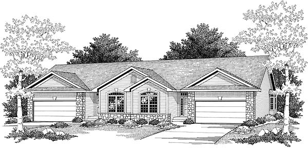 Ranch Elevation of Plan 73485