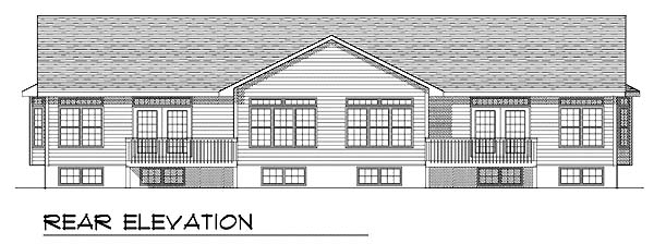 Multi-Family Plan 73485 | Ranch Style Multi-Family Plan with 2250 Sq Ft, 4 Bed, 2 Bath, 4 Car Garage Rear Elevation