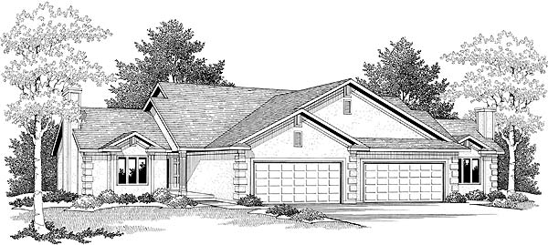 Ranch Multi-Family Plan 73486 with 4 Beds, 4 Baths, 4 Car Garage Elevation