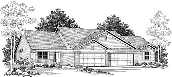 Ranch Elevation of Plan 73487