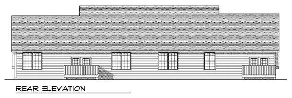 Ranch Rear Elevation of Plan 73487