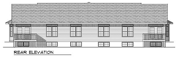 Multi-Family Plan 73489 | Ranch Style Plan with 2518 Sq Ft, 4 Bedrooms, 4 Bathrooms, 4 Car Garage Rear Elevation