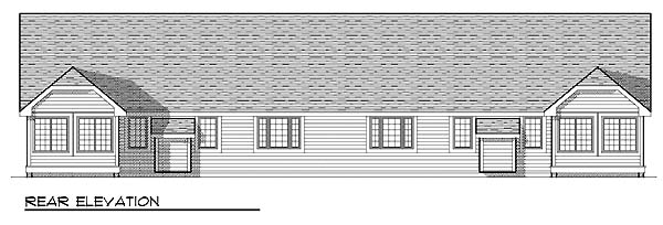 Ranch Multi-Family Plan 73490 Rear Elevation
