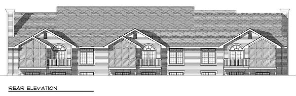 Multi-Family Plan 73491 | Ranch Style Plan with 4317 Sq Ft, 6 Bedrooms, 6 Bathrooms, 6 Car Garage Rear Elevation